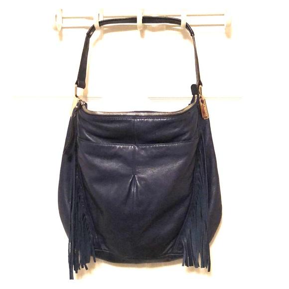 b. makowsky Bags   B Makowsky Navy Leather Hobo Bag W Fringe   Poshmark c8b147b2bf